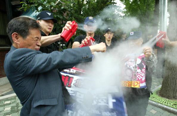 Chung Sung-Jun「Protesters Burn North Korean Flag Following Missle Launch」:写真・画像(10)[壁紙.com]
