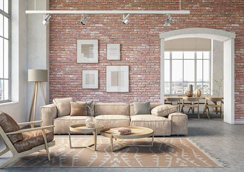 Flat「Bohemian living room interior - 3d render」:スマホ壁紙(7)