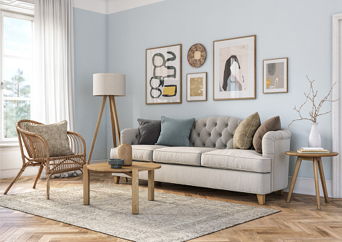 Furniture「Bohemian living room interior - 3d render」:スマホ壁紙(11)