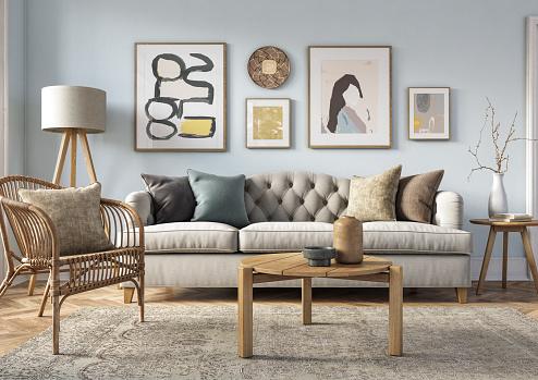 Youth Culture「Bohemian living room interior - 3d render」:スマホ壁紙(10)