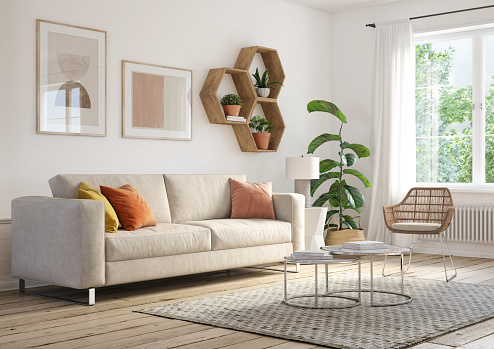 Beige「Bohemian living room interior - 3d render」:スマホ壁紙(2)