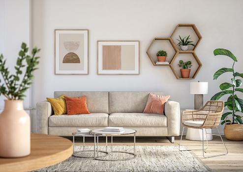House「Bohemian living room interior - 3d render」:スマホ壁紙(0)