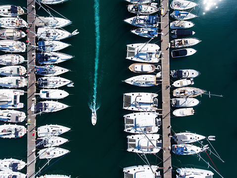 Anchor - Vessel Part「Yachts marina aerial view by drone」:スマホ壁紙(4)