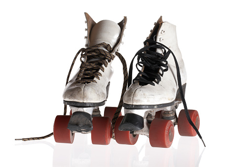 Roller skate「Product photograph of vintage white roller skated with red wheels」:スマホ壁紙(5)