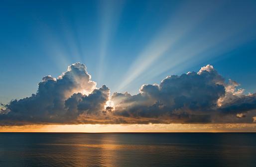 Miami Beach「Sunset behind clouds」:スマホ壁紙(14)