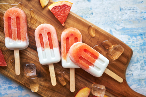 Juice - Drink「Peach, Grapefruit Ice Cream on Stick」:スマホ壁紙(11)