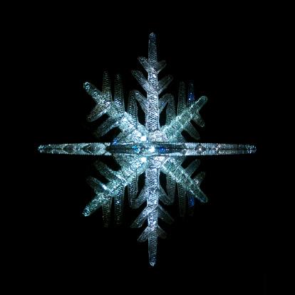 氷晶「ダイヤモンドブリザード輝く星の光の雪の結晶のオーナメントの夜」:スマホ壁紙(11)