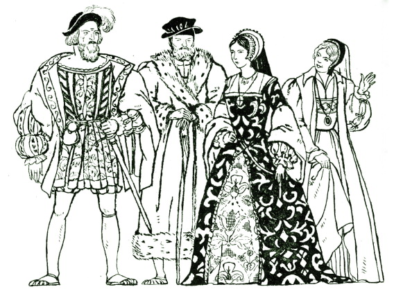 Elizabethan Style「Elizabethan England - typical costumes from the reign of Queen Elizabeth I, with two men and two women.」:写真・画像(13)[壁紙.com]