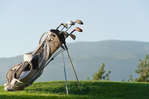 Alto Adige - Italy「Italy, Kastelruth, Golf clubs in golf bag on golf course」:スマホ壁紙(7)