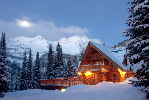 Wilderness Area「Mountain Lodge in Winter」:スマホ壁紙(10)