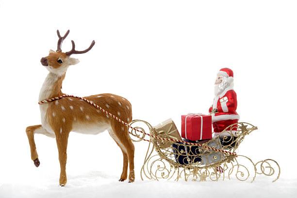 Christmas decoration, Santa Claus in a sledge:スマホ壁紙(壁紙.com)