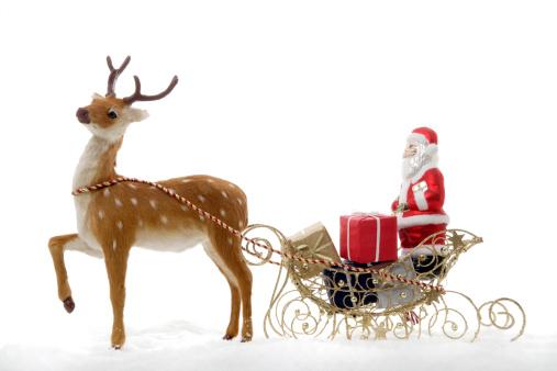 reindeer「Christmas decoration, Santa Claus in a sledge」:スマホ壁紙(13)