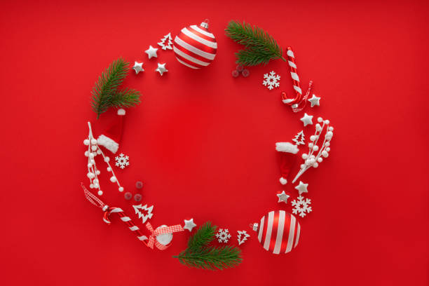 Christmas Decoration on red background with copy space:スマホ壁紙(壁紙.com)