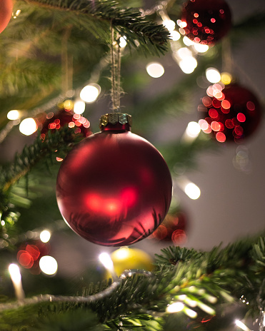 December「Christmas decoration. Hanging red balls on pine branches christmas tree garland and ornaments over abstract bokeh background with copy space」:スマホ壁紙(16)