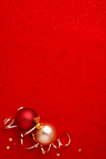 Red Background「Christmas Decorations on Red」:スマホ壁紙(18)