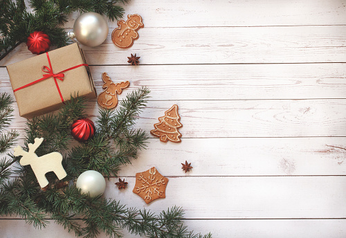 festive food for the New Year「Christmas decoration on wooden background with copy space」:スマホ壁紙(15)