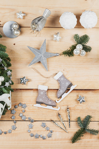 Silver Shoe「Christmas decoration items, real fir tree green, snow ball candles, skates, bird, Christmas baubles, vintage icicles, stars」:スマホ壁紙(15)