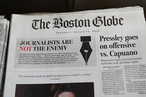 ビジネスと経済「Boston Globe Leads Charge Among Newspapers' Concerted Defense Of Free Press In Wake Of President Trump's Rhetoric Against Press」:写真・画像(6)[壁紙.com]