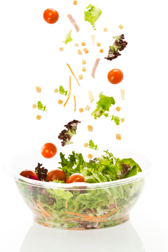 Salad「Bowl of mixed salad with cheese and ham on white background」:スマホ壁紙(17)