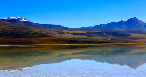 Andean Highlands「Laguna Tuyacto - Lake Tuyacto and Miniques snowcapped Volcano - Turquoise lake salt mirrored reflection and Idyllic Atacama Desert, Volcanic landscape panorama – San Pedro de Atacama, Chile, Bolívia and Argentina border」:スマホ壁紙(18)