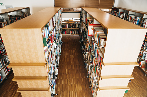 Choosing「Shelves full of books in college wooden library」:スマホ壁紙(0)