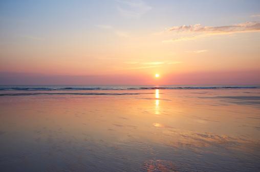 Sea「Sunset at beach.」:スマホ壁紙(5)