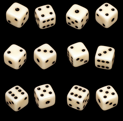 Number 11「Several dice combinations and orientations on black」:スマホ壁紙(18)