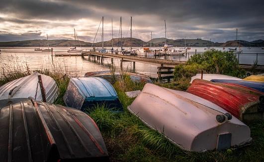 Nautical Vessel「Deborah Bay, Dunedin New Zealand pier and tender dinghies on moody day」:スマホ壁紙(11)