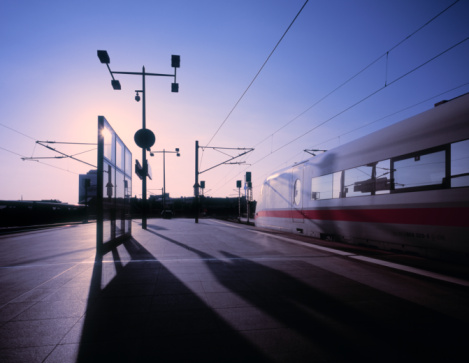 Passenger Train「ICE high-speed train at train station at dawn.」:スマホ壁紙(6)