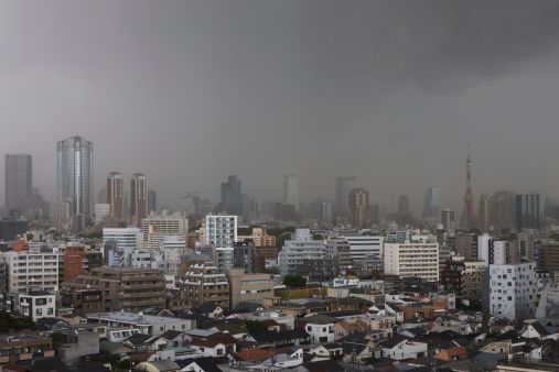 Tokyo Tower「Storm over Tokyo, Tokyo, Japan」:スマホ壁紙(19)