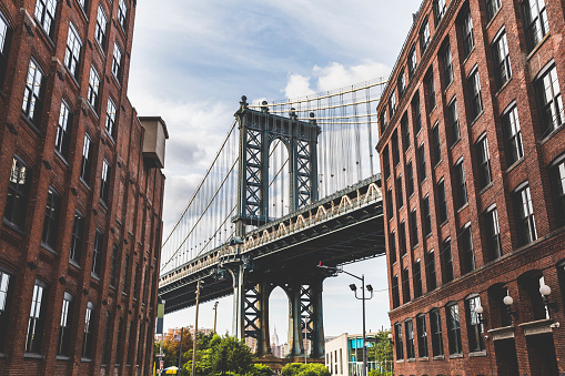 Suspension Bridge「USA, New York City, view to Manhattan Bridge from Brooklyn」:スマホ壁紙(17)