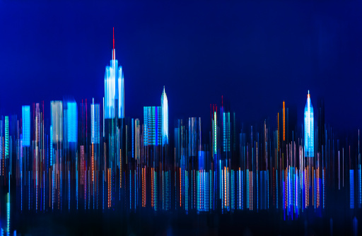 青「USA, New York City, Digitally blurred skyline of Manhattan」:スマホ壁紙(12)