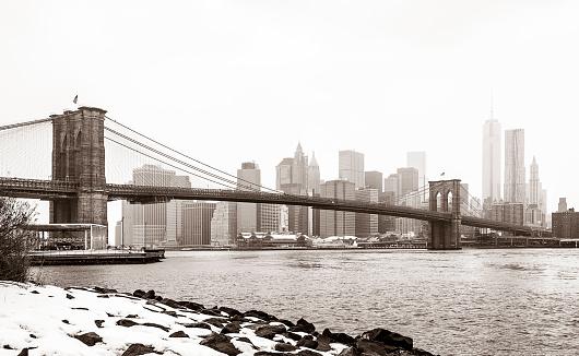 Sepia Toned「New York City After Snowstorm」:スマホ壁紙(15)