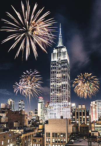 お正月「New York City empire state for the new year fireworks」:スマホ壁紙(19)