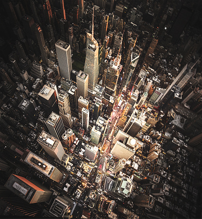 Vertical「new york city aerial view of the downtown」:スマホ壁紙(3)