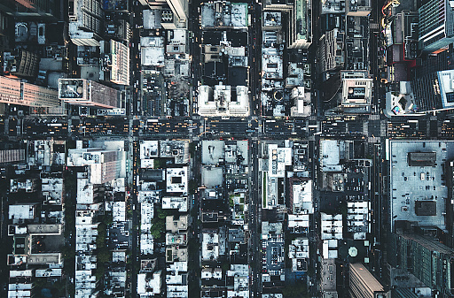 Monochrome「new york city aerial view of the downtown」:スマホ壁紙(0)