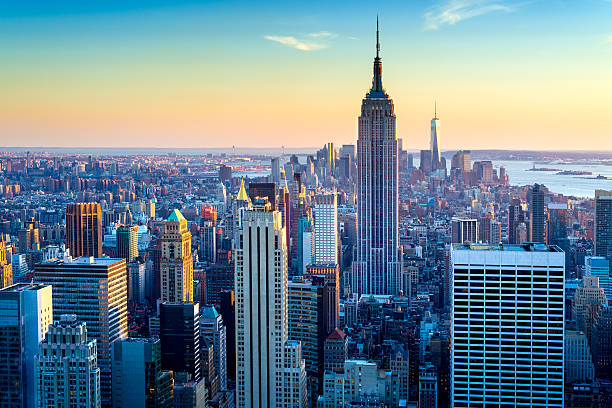 New York City Aerial Skyline at Dusk, USA:スマホ壁紙(壁紙.com)