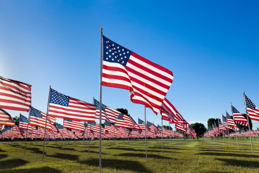 Fourth of July「American Flags with Blue Sky」:スマホ壁紙(11)