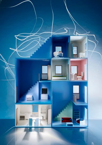 Figurine「The inside of a dollhouse with light trails behind it」:スマホ壁紙(1)