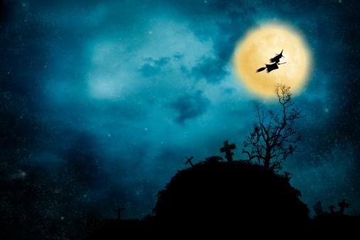ハロウィン「魔女乗馬、ブルーム」:スマホ壁紙(10)