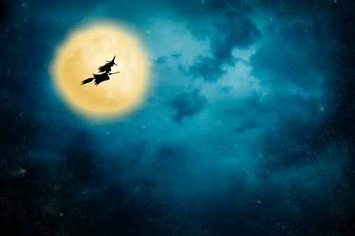 ハロウィン「魔女乗馬、ブルーム」:スマホ壁紙(15)