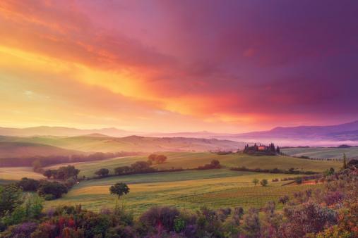 Agriculture「Farm in Tuscany at dawn」:スマホ壁紙(12)