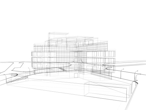 City Life「3d render in wire frame layout, perspective View」:スマホ壁紙(14)