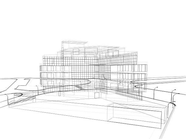 3d render in wire frame layout, perspective View:スマホ壁紙(壁紙.com)