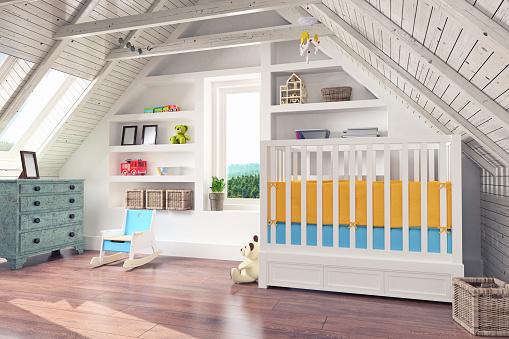 子供「屋根裏 Nursery インテリア」:スマホ壁紙(0)