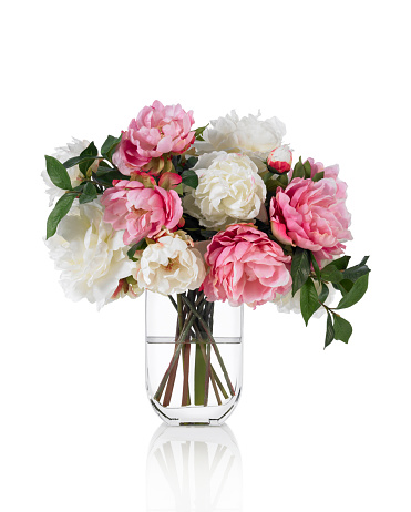 Flower Arrangement「Large mixed Peonies spring bouquet on white background」:スマホ壁紙(5)