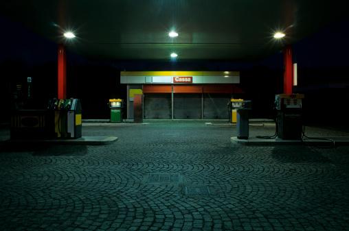 City Life「Empty Gas Station at Night」:スマホ壁紙(0)