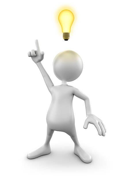 3d Man with idea lightbulb, isolated w. clipping path:スマホ壁紙(壁紙.com)
