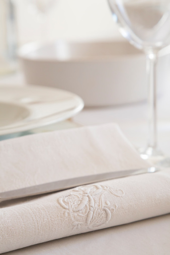 Embroidery「Festive laid table with monogram on white cloth napkin」:スマホ壁紙(0)