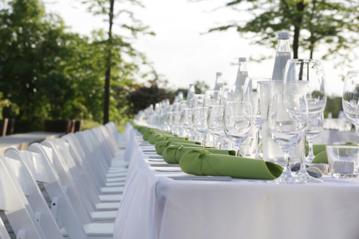 Party - Social Event「Festive laid table with green napkins and wine glasses」:スマホ壁紙(10)
